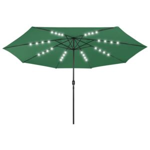 VidaXL Outdoor Parasol with LED Lights and Metal Pole 400 cm Green