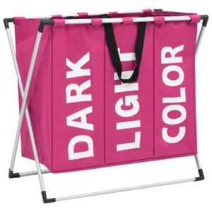 3-Section Laundry Sorter Pink