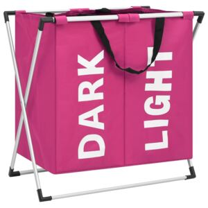 2-Section Laundry Sorter Pink