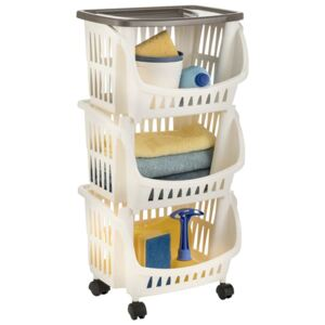 Kitchen Trolley White and Taupe
