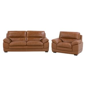 3 + 1 Sofa Set Brown Leather Extra Seating Space Upholstered Back Retro Beliani