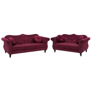 Living Room Set Red Velvet 2 Seater 3 Seater Nailhead Trim Button Tufted Throw Pillows Rolled Arms Glam Beliani