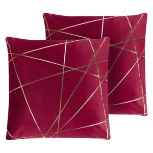 Set of 2 Scatter Cushions Red Velvet 45 x 45 cm Gold Geometric Pattern Decorative Throw Pillows Removable Covers Zipper Closure Glam Style Beliani
