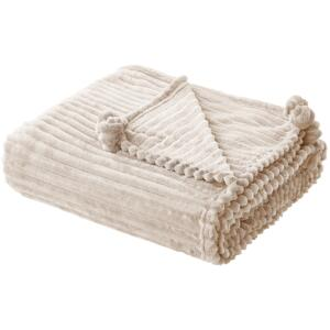 Blanket Beige Polyester 150 x 200 cm Ribbed Structure with Pom-Poms Throw Bedding Beliani