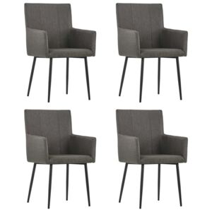 Dining Chairs with Armrests 4 pcs Taupe Fabric