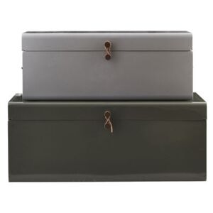 Metal Trunk - Set of 2 - 60 x 36 cm by House Doctor Green/Grey