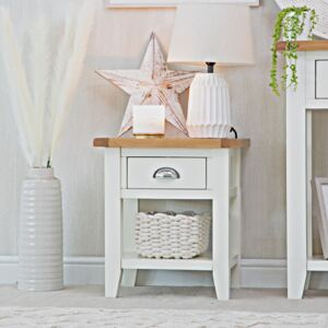 Chester White Painted Oak 1 Drawer Large Lamp Table