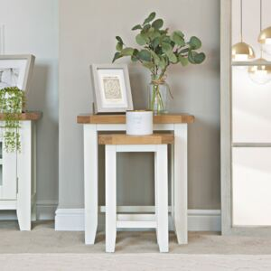 Chester White Painted Oak Nest of 2 Tables