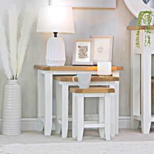 Chester White Painted Oak Nest of 3 Tables