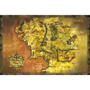 Poster The Lord Of The Rings - Middle Earth Map, (91.5 x 61 cm)