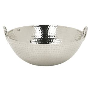 Decorative Bowl Silver Metal Round with Handles Modern Living Room Glamour Decor Piece Beliani