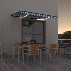 VidaXL Manual Retractable Awning with LED 350x250 cm Blue and White