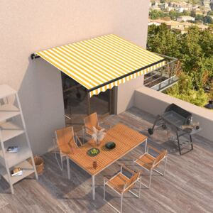 VidaXL Manual Retractable Awning 350x250 cm Yellow and White