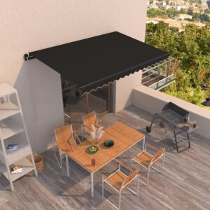 VidaXL Manual Retractable Awning 400x350 cm Anthracite