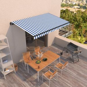 VidaXL Manual Retractable Awning 400x350 cm Blue and White