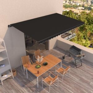 VidaXL Manual Retractable Awning 500x350 cm Anthracite