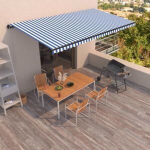 VidaXL Manual Retractable Awning 600x350 cm Blue and White