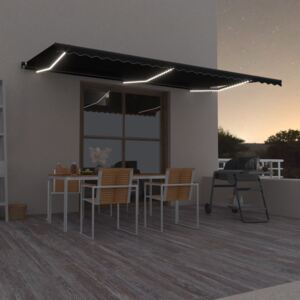 VidaXL Manual Retractable Awning with LED 600x350 cm Anthracite