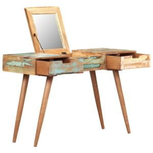 Dressing Table with Mirror 112x45x76 cm Solid Reclaimed Wood