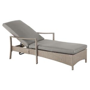 Garden Outdoor Lounger Brown and Grey Rattan Polyester Fabric Cushion Adjustable Reclining Backrest Beliani