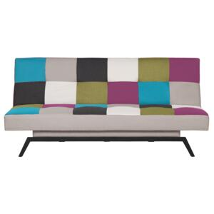 Sofa Bed Multicolour Patchwork Fabric Upholstery 3 Seater Click Clack Mechanism Beliani