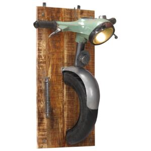 Wall Lamp in Scooter Design Iron and Solid Mango Wood