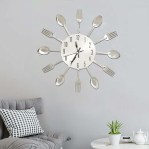 Wall Clock with Spoon and Fork Design Silver 31 cm Aluminium
