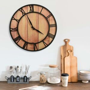 VidaXL Wall Clock 39 cm Brown and Black MDF and Iron