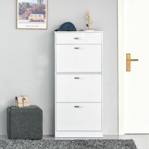 HOMCOM Shoe Cabinet with 4 Drawers Storage Cupboard with Flip Doors Pull Down Furniture Unit with Adjustable Shelves for 18 Pairs White