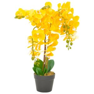 Artificial Plant Orchid with Pot Yellow 60 cm