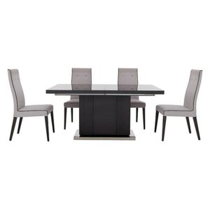 ALF - St Moritz Extending Table and 4 Fabric Upholstered Chairs - Grey