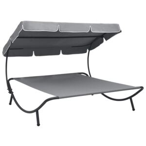 Outdoor Lounge Bed with Canopy Grey
