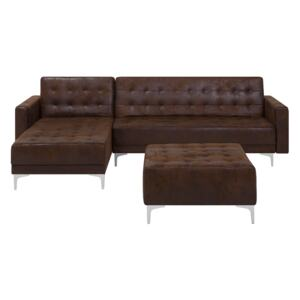 Corner Sofa Bed Brown Faux Leather Tufted Modern L-Shaped Modular 4 Seater with Ottoman Right Hand Chaise Longue Beliani