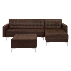 Corner Sofa Bed Brown Faux Leather Tufted Modern L-Shaped Modular 4 Seater with Ottoman Left Hand Chaise Longue Beliani