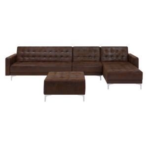 Corner Sofa Bed Brown Faux Leather Tufted Modern L-Shaped Modular 5 Seater with Ottoman Left Hand Chaise Longue Beliani