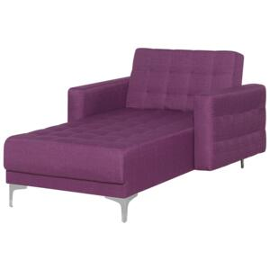 Chaise Lounge Purple Tufted Fabric Modern Living Room Reclining Day Bed Silver Legs Track Arms Beliani
