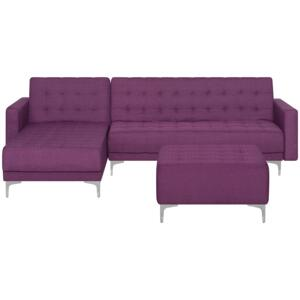 Corner Sofa Bed Purple Tufted Fabric Modern L-Shaped Modular 4 Seater with Ottoman Right Hand Chaise Longue Beliani