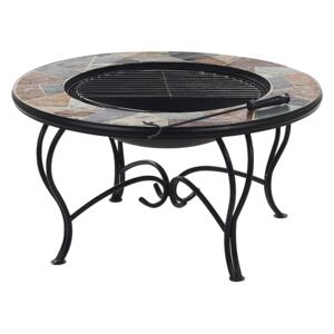 Outdoor Fire Pit Multicolour Top Black Steel Legs Ceramic Round for Charcoal Garden BBQ Beliani