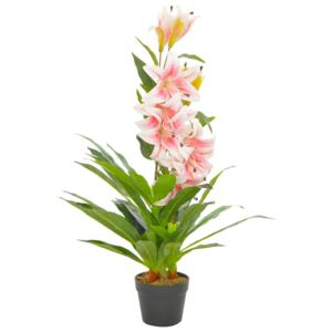 VidaXL Artificial Plant Lily with Pot Pink 90 cm