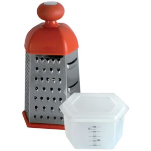 Six-sided grater with a plastic container Patty 22,5 cm mixed colors DOMOTTI
