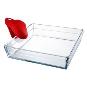 Glass casserole baking dish heat-resistant Guzzini with silicone oven mitt 4,1 l PASABAHCE