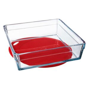 Glass casserole baking dish heat-resistant Guzzini with silicone mat 2,4 l PASABAHCE