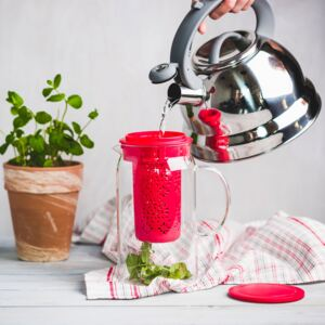 Teapot Subtele with infuser and lid 1,4 l red AMBITION