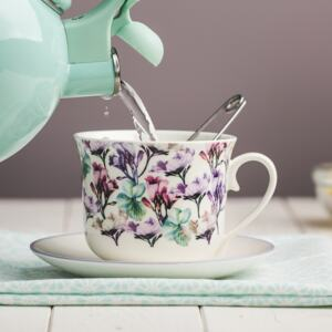 Cup with saucer Garden 450 ml mint flower AMBITION