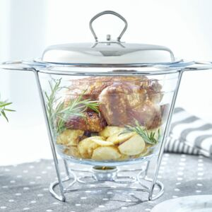 Glass casserole dish with warmer Helios 4 l round AMBITION