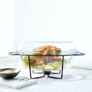Glass casserole dish with warmer Saule oval 4,5 l AMBITION