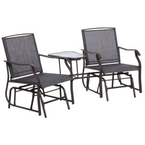 Outsunny Double Glider Rocking Chairs Garden Table High Back Conversation Duo Set