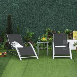 Outsunny 3 Pieces Patio Lounge Chair Set PE Rattan Wicker Beach Yard Garden Sunbathing Chair with Table, Black