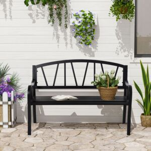 Outsunny 2-Seater Garden Bench Solid Metal Loveseat Outdoor Furniture for Patio Family Chair w/ Decorative Backrest Ergonomic Armrest