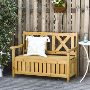 Outsunny Wood Garden Bench 2 Seater Storage Chest Patio Seating with High Back and Armrest